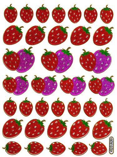 Sticker Erdbeere 37 Motive Aufkleber glitzernd