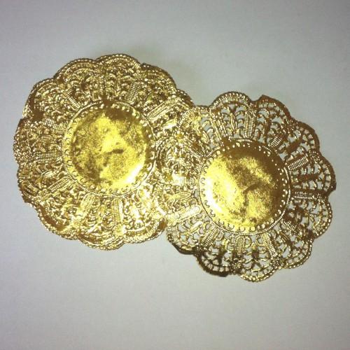 10 Stk Doilies gold Tortenspitzen 9cm