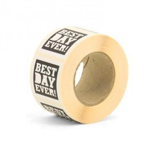 10 Sticker Etiketten BEST DAY EVER schwarz