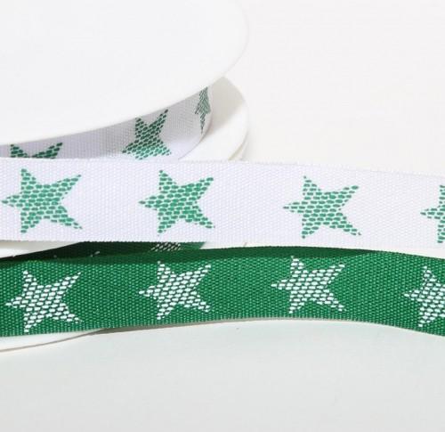Band weiss mit grünen Sternen 12mm