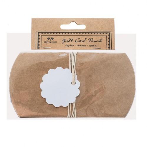 3 Kissenschachteln KRAFT Pillow Box inkl. Anhängern und Garn