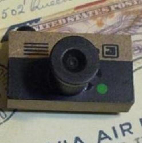 vintage Holzstempel Kamera braun