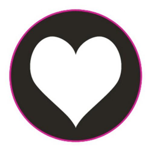 10 Herz Sticker Etiketten schwarz weiss