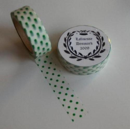 Washi Masking Tape grün weiss gepunktet