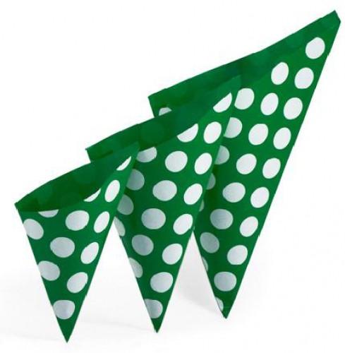 10 Stk Spitztüten grün weiss gepunktet