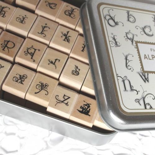 Stempelset Alphabet Kleinbuchstaben Flower & Butterfly