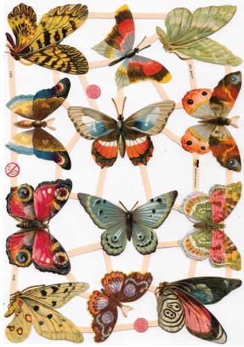 "Glanzbilder ""Schmetterlinge 4"" Bogen Oblaten"