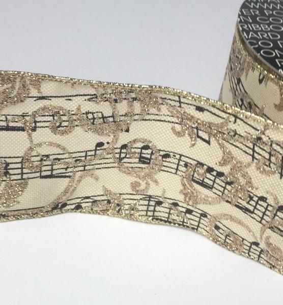 Dekoband Jute Musiknoten Glitter 63mm breit Meterware