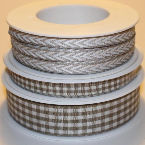 Schleifenband Bauernkaro beige / weiss kariert 10mm Landhaus