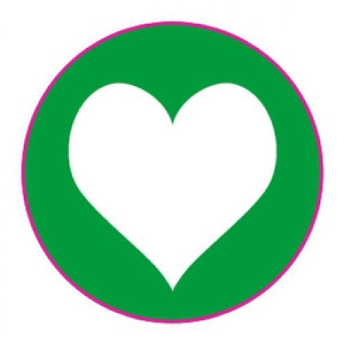 10 Herz Sticker Etiketten dunkel-grün weiss