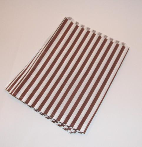 Papiertüten braun weiß gestreift, klein 10 Stk