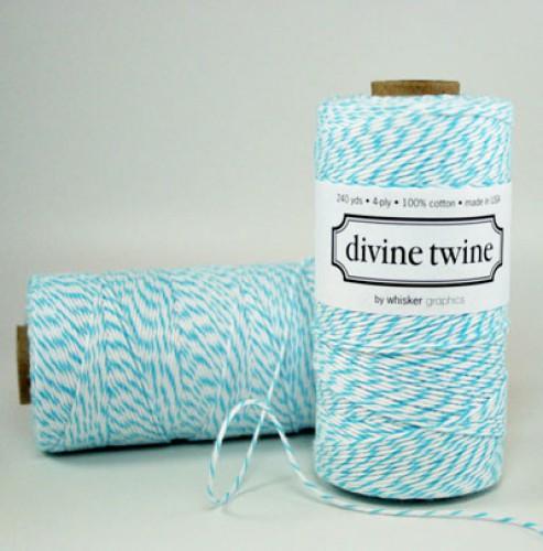 Divine Twine Rolle Garn türkis / weiß 4-fädig