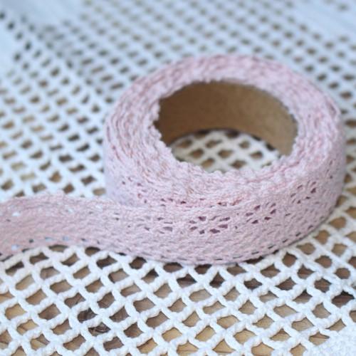 Rolle rosa Häkelspitze selbstklebend 2 Meter Spitze