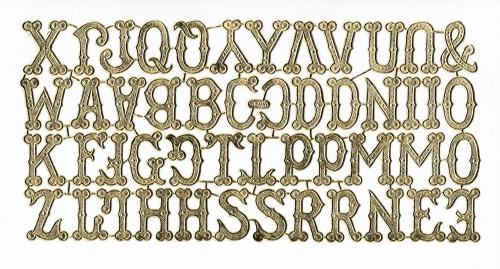 goldene Ornamente Bogen Buchstaben Alphabet ABC
