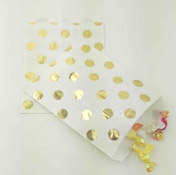 10 Papiertüten goldene Punkte DOTS