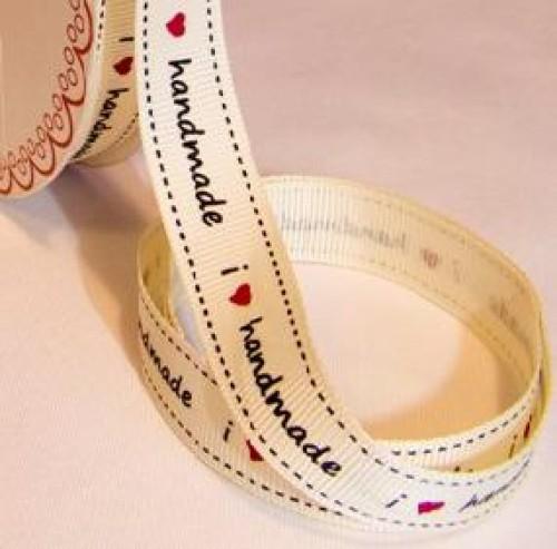 """"""" i love handmade"""" Rolle 3 Meter Ripsband"""