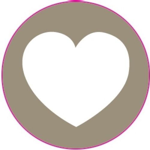 10 Herz Sticker Etiketten taupe weiss