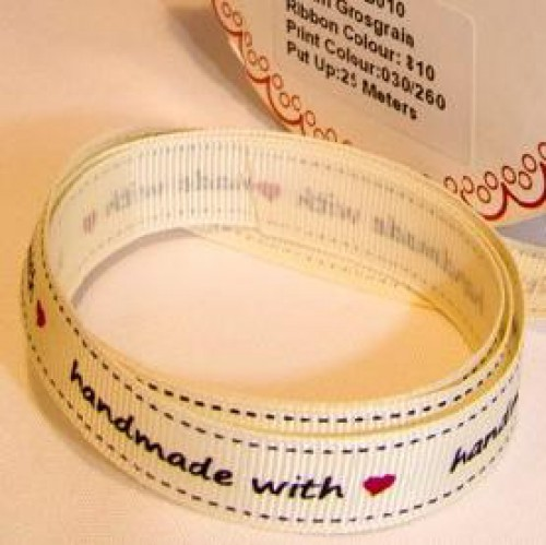 """handmade with love"" Rolle 3 Meter Ripsband"