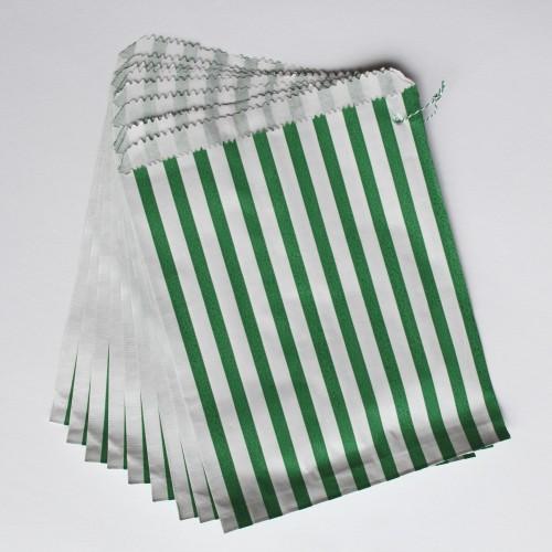 Papiertüten grün weiß gestreift, groß 10 Stk