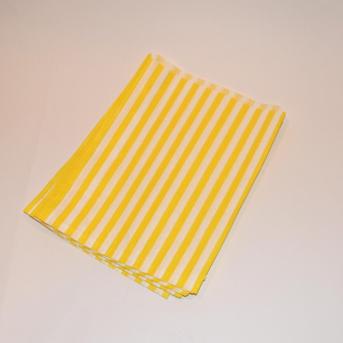 Papiertüten gelb weiß gestreift, groß 10 Stk
