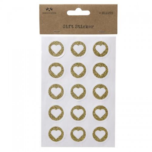 Sticker Herzchen gold glitzer 60 Stk