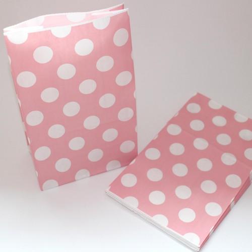 10 Papierbeutel rosa mit weissen