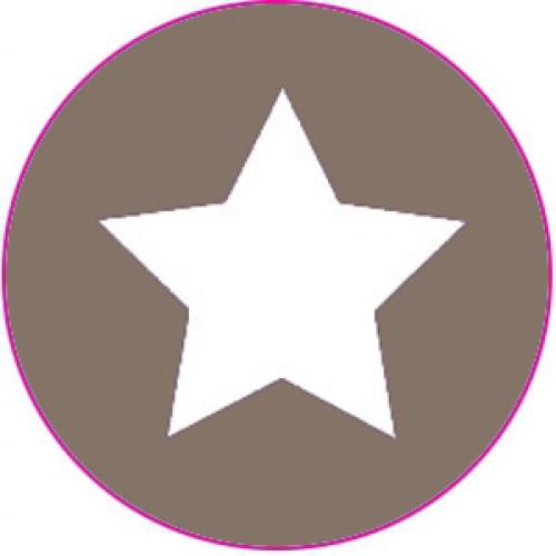 10 Sterne Sticker Etiketten taupe weiss