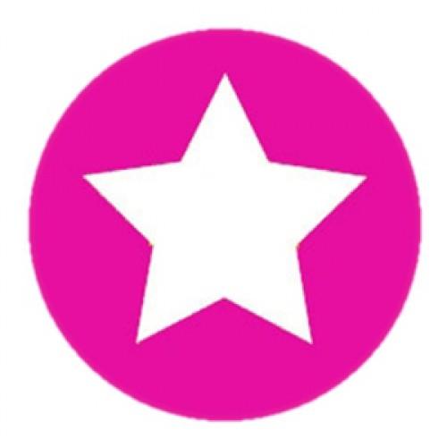 10 Stern Sticker Etiketten pink weiss