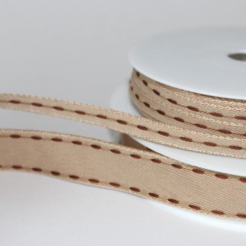 Dekoband Natur stitches Braun 16mm Sattelstich