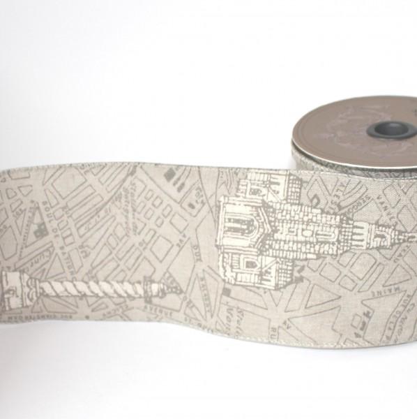 Dekoband vintage MAP Stadtplan Paris 10cm grau