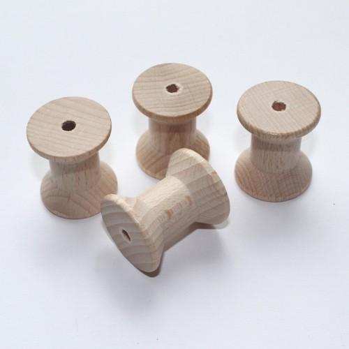 4 kleine Garnrollen Spule aus Holz
