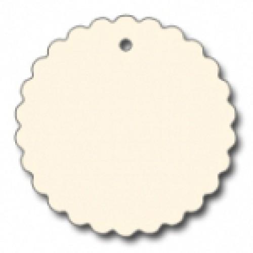 10 runde Pappanhänger off-white creme Wellenkante 49mm
