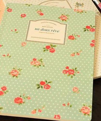 Schreibheft Rosen mint grün liniert