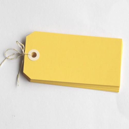 Paketanhänger gelb 10 Stk groß