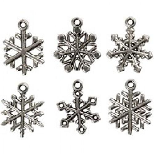 6 Charms Schneeflocke Snowflake Anhänger silber
