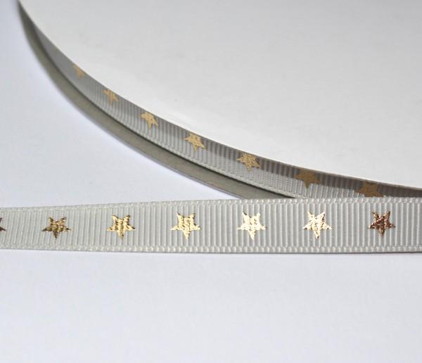Ripsband greige goldene Sterne 9mm