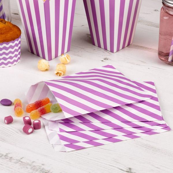 25 Papiertüten lila weiss gestreift Candy