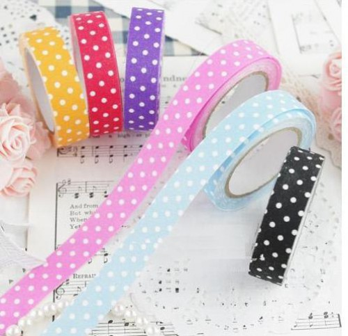 Rolle Fabric Tape Polka Dots lila weiss gepunktet