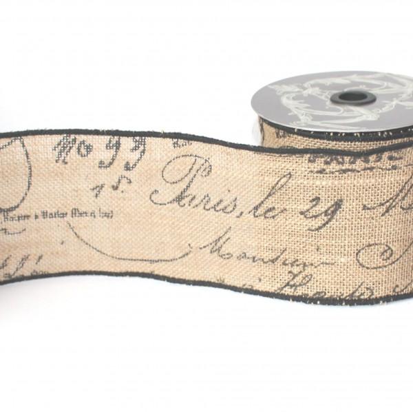 Juteband vintage SCRIPT Französisch 10cm