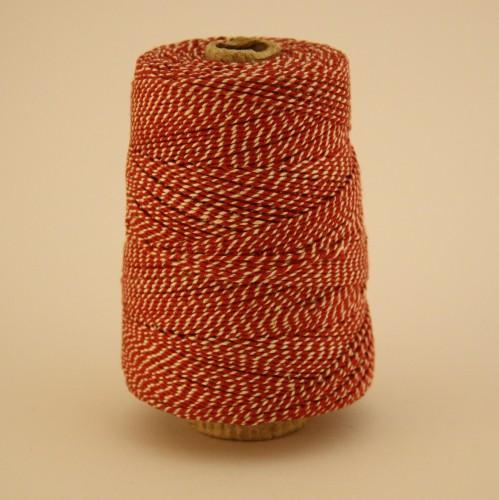 Baumwollgarn Kegel Garn rot / weiss 1,1mm 325m