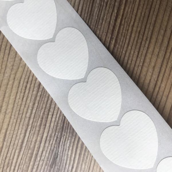 10 Herz Sticker offwhite gerippt 29x28mm