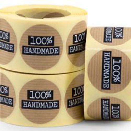 10 runde Sticker Kraft Handmade