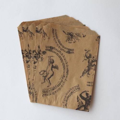 10 Papiertüten Kraft vintage Engel groß