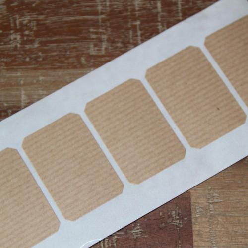10 Sticker Label Kraft gerippt 47x31mm