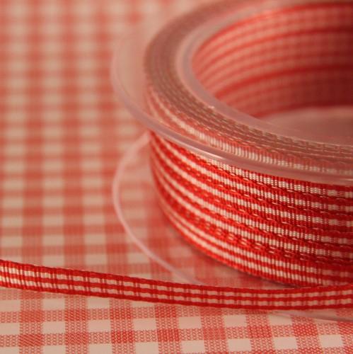 Schleifenband Vichykaro rot / weiss kariert 6mm