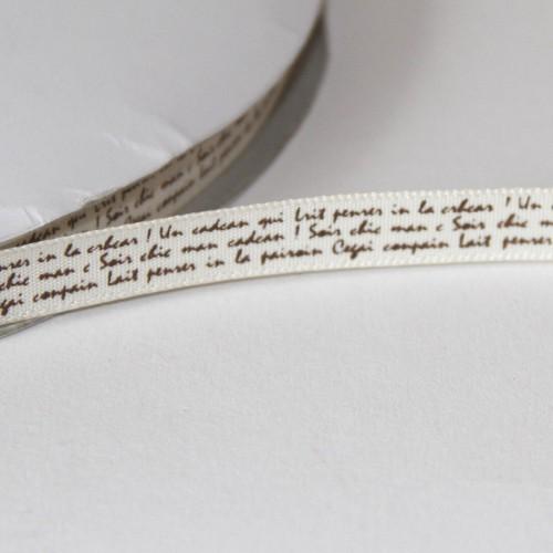 Schleifenband alte französische Handschrift 9mm creme