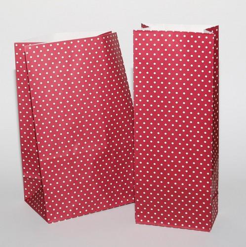 5 Stk. grosse Papierbeutel rot mit weissen Punkten