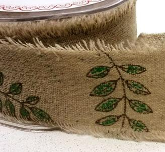 Leinenband bedruckt Blätter 5cm breit Meterware