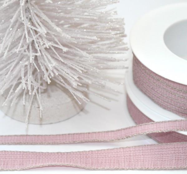 Schleifenband altrosa mit Leinenkante 7mm