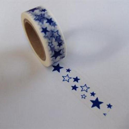 Washi Masking Tape Sterne weiss blau